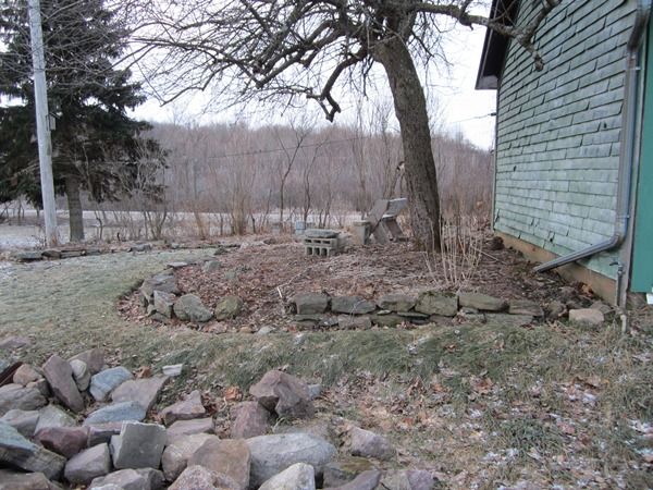 This is the little shade garden under the old apple tree, facing east. And a pile of rocks for next season's wall-building.