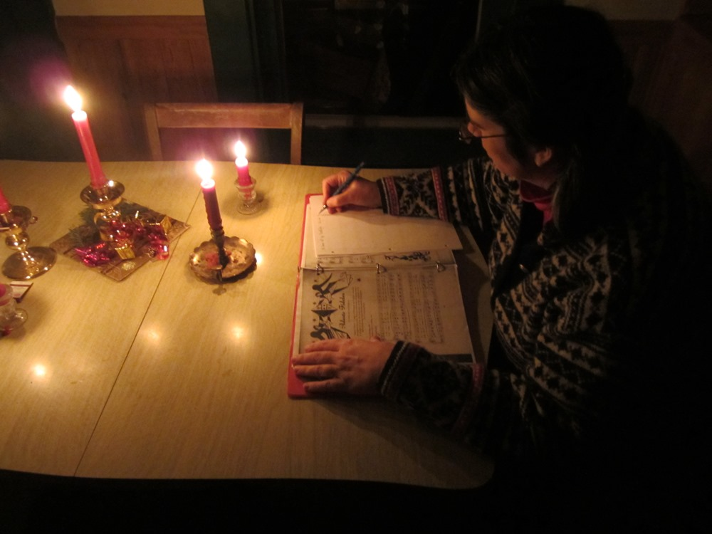 then the lights went out. we sat at the kitchen table with lots of candles, reading, playing cards, etc.