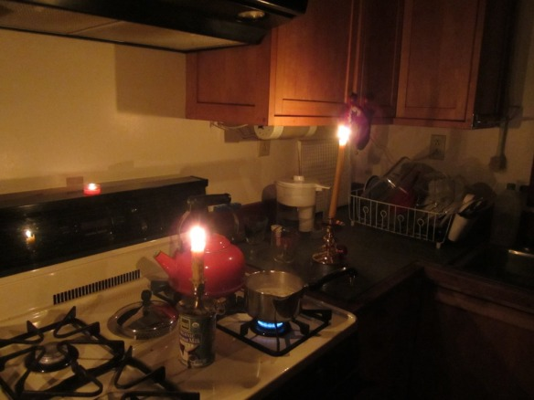 cooking breakfast this morning by candlelight.