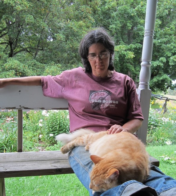 Anne and Mr. Fluff front porch