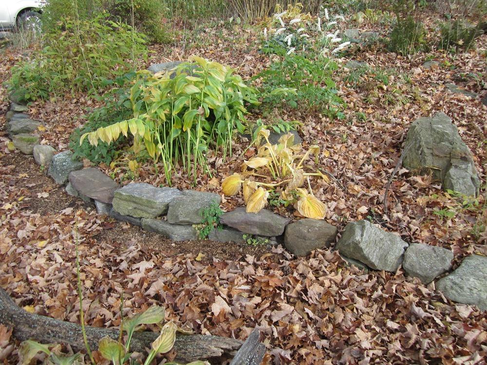 front yard rock walls and paths