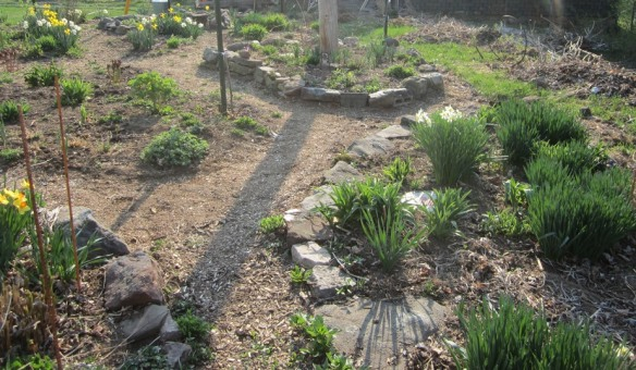 I like this picture of the back yard, showing the paths and low rock walls.