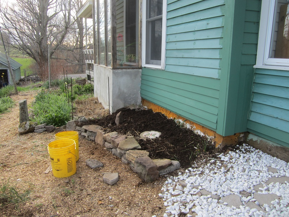 adding dirt and a stepping stone