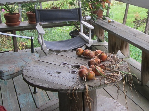 front porch with onions